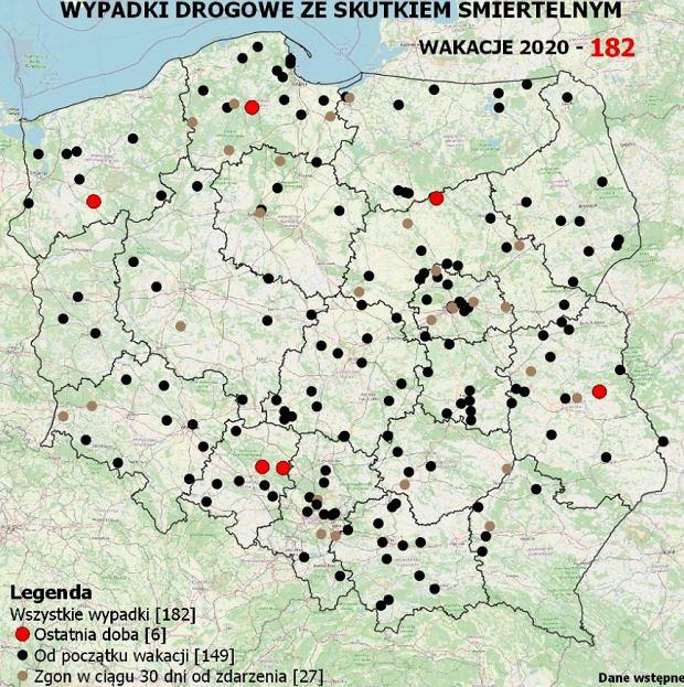Mapa wypadków 24 lipca 2020