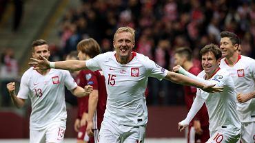 Kamil Glik, czyli nowy piłkarz włoskiego Benevento, podczas meczu Polska - Łotwa w marcu 2019 roku