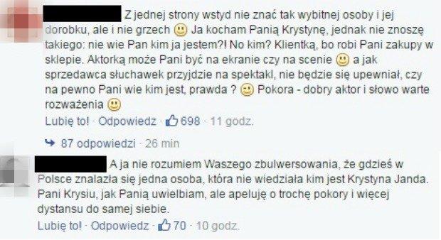 Komentarze z Facebooka Krystyny Jandy