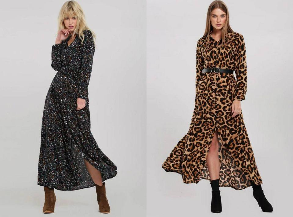 Długie sukienki na jesień we wzory