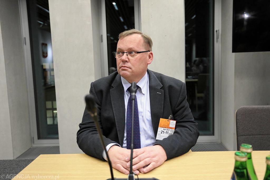 Profesor Jakub Stelina podczas posiedzenia sejmowej Komisji Sprawiedliwości i Praw Człowieka w Warszawie.