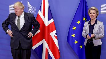 Premier Wielkiej Brytanii Boris Johnson i przewodnicząca Komisji Europejskiej Ursula von der Leyen