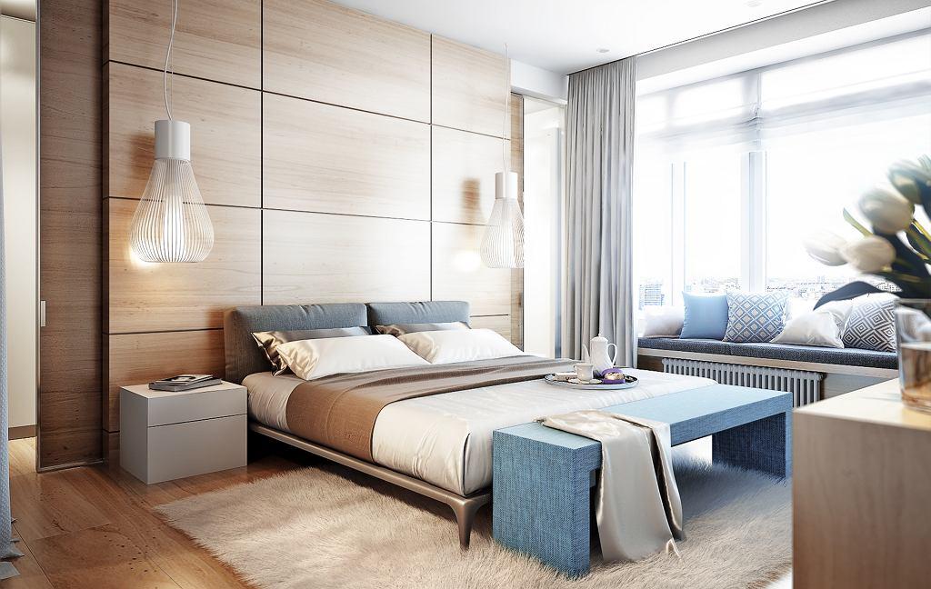 Panele winylowe na ścianie w sypialni.