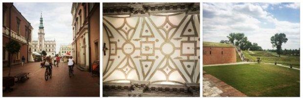 Ulica, która prowadzi na płytę Rynku Wielkiego z pięknym widokiem na spektakularny ratusz, nosi imię B. Moranda, architekta, któremu Zamość zawdzięcza swój 'idealny' kształt. Sklepienie Katedry Zmartwychwstania Pańskiego i św. Tomasza Apostoła, dawnej kolegiaty, wspaniałego przykładu tzw. renesansu lubelskiego. Fragment zrewitalizowanych i udostępnionych zwiedzającym murów obronnych wokół twierdzy Zamość.Widok na Stare Miasto w Zamościu z katedralnej dzwonnicy.