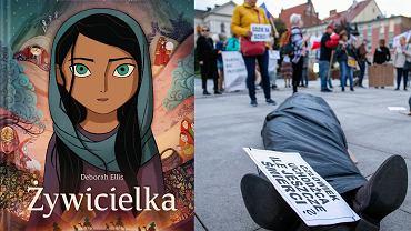 Z lewej okładka książki, z prawej manifestacja 'Nie bądźmy obojętni' w związku z sytuacją uchodźców na granicy polsko-białoruskiej w Bydgoszczy, 5.10.2021