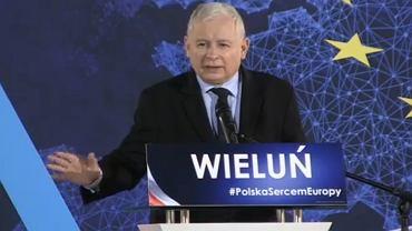 Jarosław Kaczyński na konwencji PiS w Wieluniu przed wyborami do Parlamentu Europejskiego