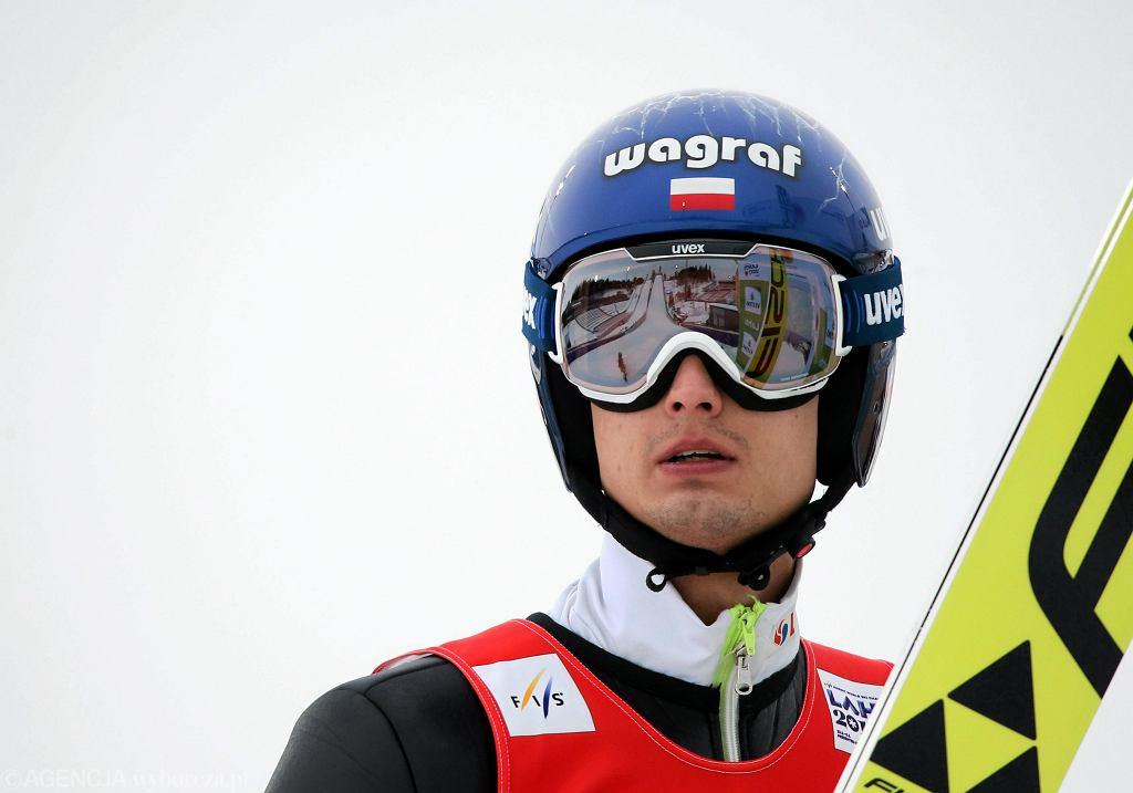 Lahti. Maciej Kot podczas treningu przed konkursem na skoczni HS 130