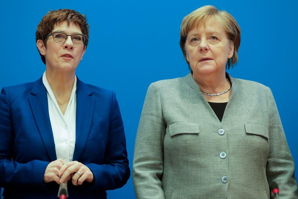 Niemcy. Annegret Kramp-Karrenbauer i Angela Merkel.