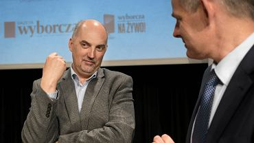 Paweł Silbert (z lewej) podczas zorganizowanych przez 'Wyborczą' wraz z Urzędem Miasta w Jaworznie spotkania z cyklu Miasta Idei