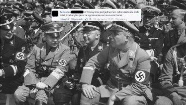 Zdjęcie z czasów II wojny światowej zestawione z polskim komentarzem