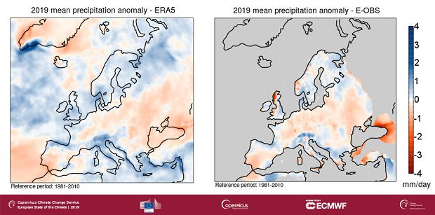 Anomalia opadów w Europie w 2019 roku