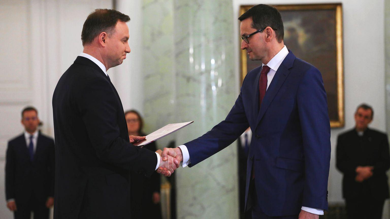 Prezydent Andrzej Duda i desygnowany na premiera Mateusz Morawiecki