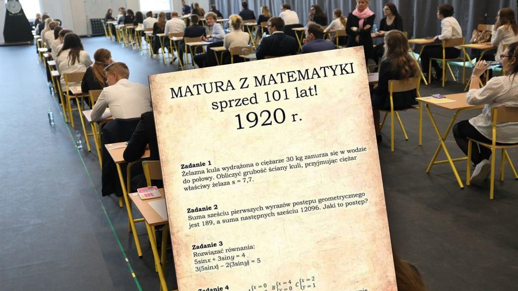 Zadania maturalne z matematyki z 1920 roku.