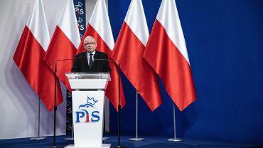 Jarosław Kaczyński podczas prezentacji 'jedynek' PiS-u