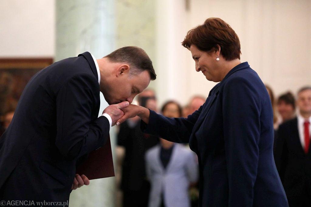 Prezydent Andrzej Duda i szefowa jego kancelarii Halina Szymańska.