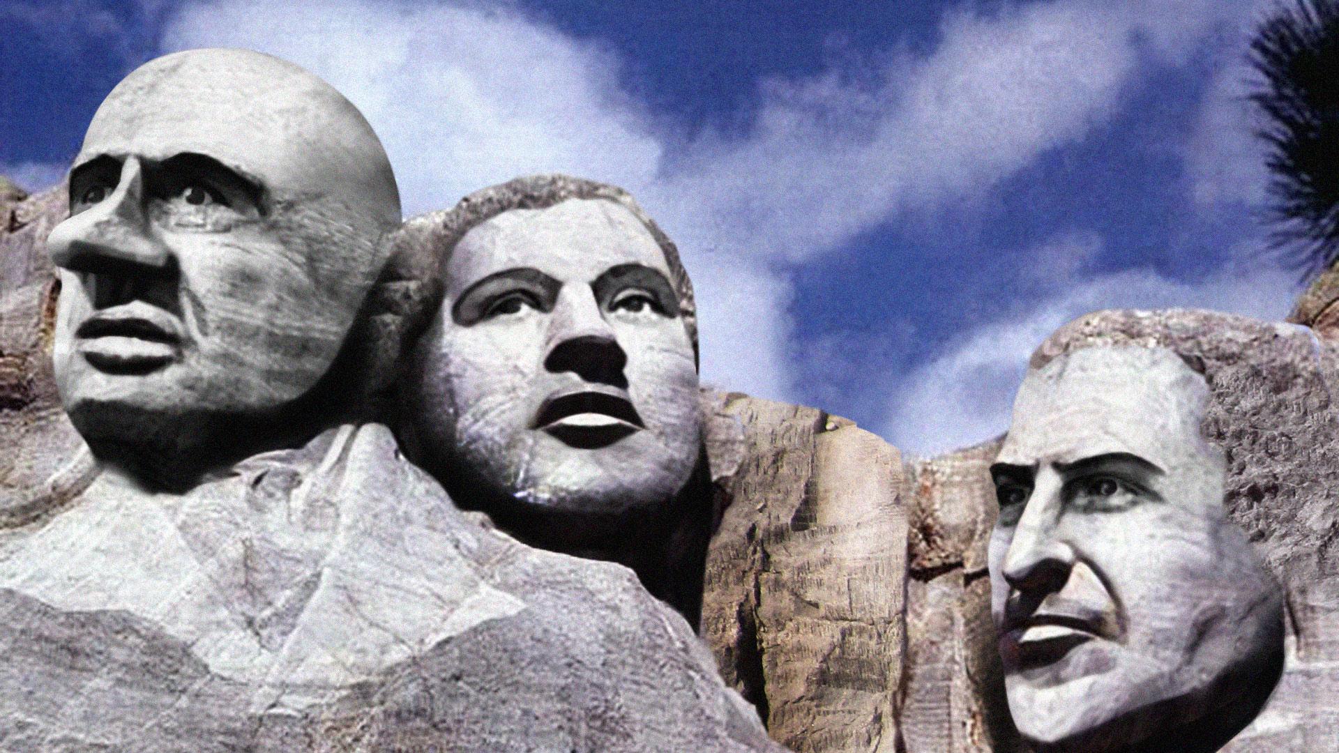 Góra Rushmore z podobiznami bohaterów wojny narkotykowej opisana przez Johanna Hariego w książce ''Chasing the Scream''. Od lewej widać twarze: Harry'ego Anslingera, Billie Holiday i Arnolda Rothsteina (fot. DonkeyHotey / Flickr.com / CC BY 2.0)