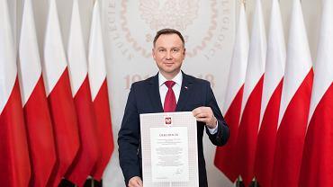 Andrzej Duda po podpisaniu deklaracji ws. odbudowy Pałacu Saskiego - 2018 rok