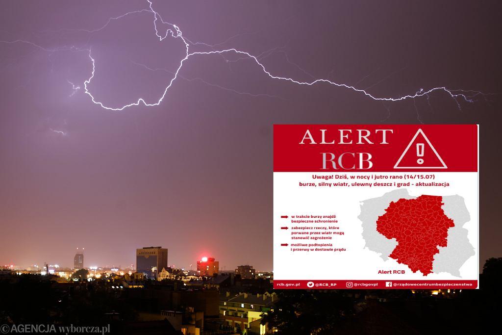 RCB wysyła komunikaty z ostrzeżeniem przed burzami