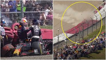 Wypadek Maxa Verstappena po kolizji z Lewisem Hamiltonem podczas GP Wielkiej Brytanii
