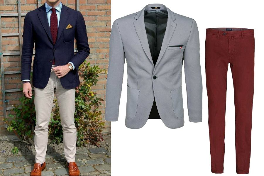 Dwukolorowe garnitury ślubne