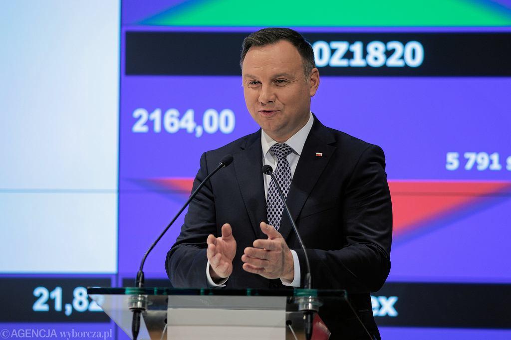 Prezydent Andrzej Duda, Giełda Papierów Wartościowych, 19.11.2018.