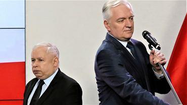 Konferencja prezesa Jarosława Kaczyńskiego i Jarosława Gowina