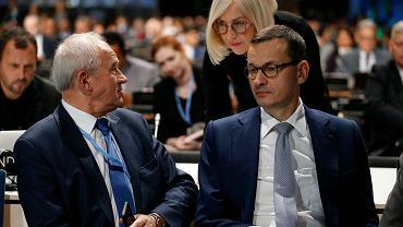 Minister energii Krzysztof Tchórzewski, rzeczniczka rządu Joanna Kopcińska i premier Mateusz Morawiecki