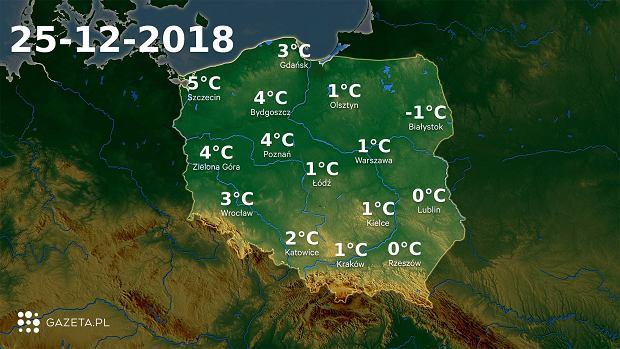 Mapa temperatury 25.12.2018r.