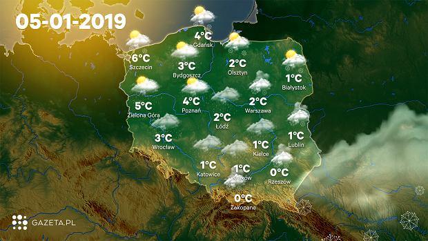 Prognoza pogody na weekend - sobota 5 stycznia
