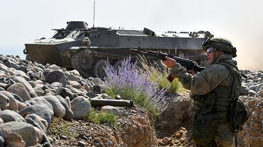 9.09.2021, armia rosyjska podczas ćwiczeń na poligonie Edelweis niedaleko Biszkeku w Kirgistanie.