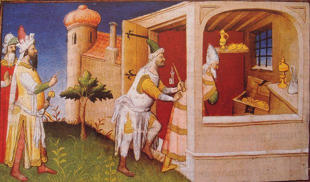 Hulagu i Al-Mustasim bi-Allah w Bagdadzie w 1258 r. na XV-wiecznej rycinie
