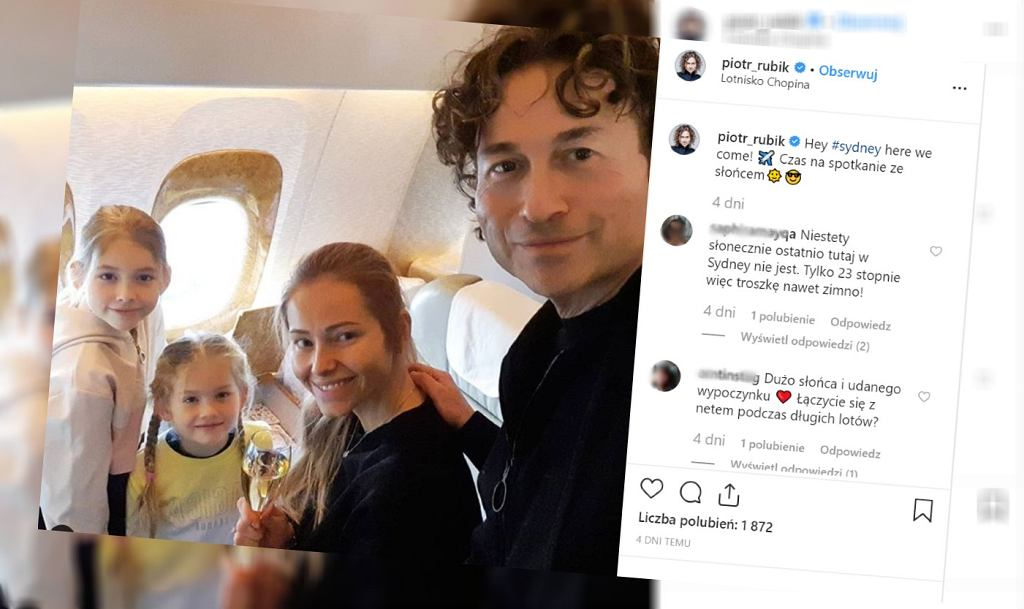 Piotr Rubik na wakacjach z żoną i dziećmi