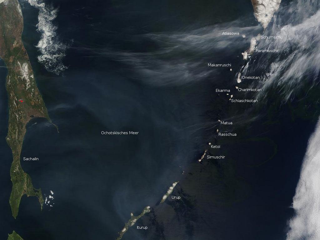 Wyspy Kurylskie - zdjęcie satelitarne