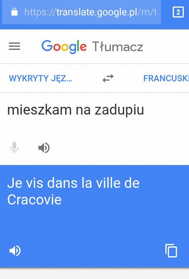 ''mieszkam na zadupiu'' według Google Translate