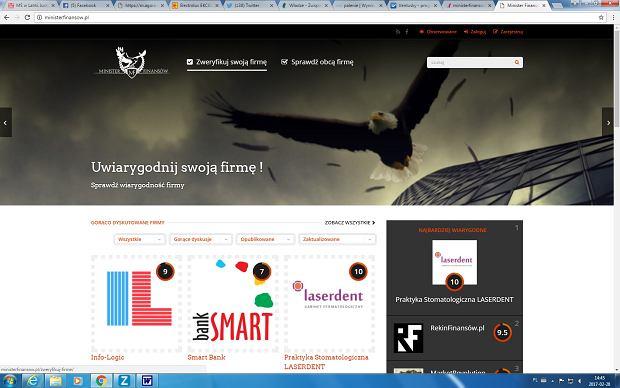 Zrzut strony www.ministerfinansow.pl