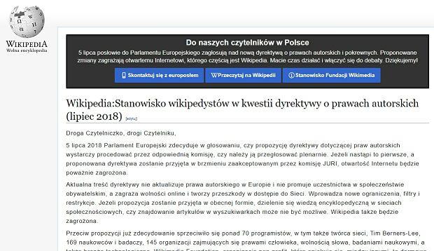 Strona główna polskiej Wikipedii 4 lipca. Protest wikipedystów
