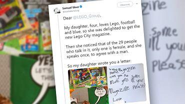 4-letnia dziewczynka była rozczarowana Lego Magazine. Napisała list do Lego, prosząc o więcej postaci płci żeńskiej