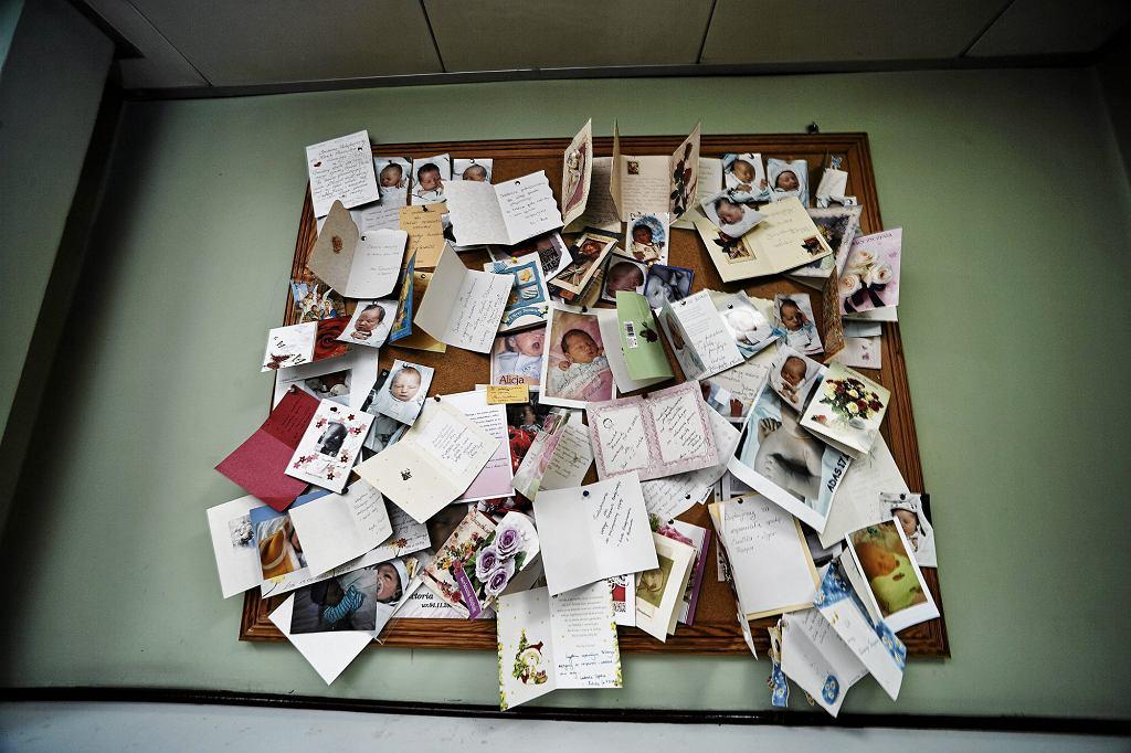 Wdzięczni za pomoc rodzice często przynoszą położnym na pamiątkę fotografie maluchów. Na zdjęciu oddział porodowy łódzkiego Szpitala Centrum Zdrowia Matki Polki (fot. Tomasz Stańczak / Agencja Gazeta)