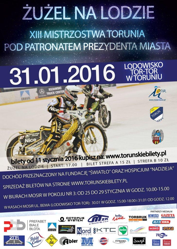 Plakat zawodów żużla na lodzie