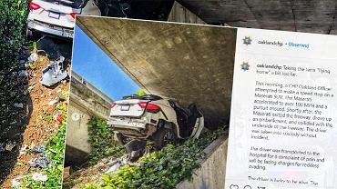 Kierowca wyleciał w powietrze i wbił się w wiadukt