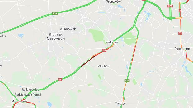 Wypadek na S8 na wysokości miejscowości Grzymek
