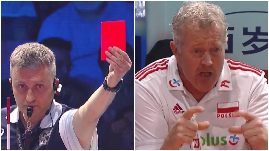 Sędzia pokazał Vitalowi Heynenowi czerwoną kartkę podczas meczu Polska - Iran
