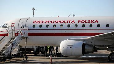 Samolot rządowy w Wojskowym Porcie Lotniczym w Warszawie