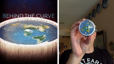 W USA jest coraz więcej wyznawców teorii, że Ziemia jest płaska (plakat i kadr z filmu 'Behind the curve' / mat. prasowe)