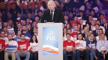 Prezes Jarosław Kaczyński podczas konwencji wyborczej swojej partii. Lublin, 7 września 2019