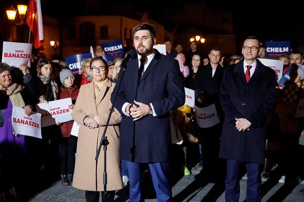 Jakub Banaszek, prezydent Chełma. Na zdjęciu podczas kampanii wyborczej