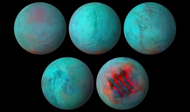 Enceladus - księżyc Saturna - na mozaice zdjęć w podczerwieni.  Obszary pokryte lodem w postaci krystalicznej są poczerwienione. W dolnym rzędzie: półkula północna i południowa księżyca