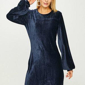 Granatowa sukienka z szerokimi rękawami