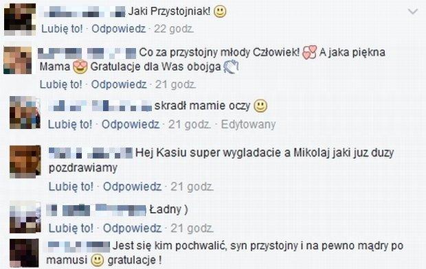 Komentarze pod zdjęciem Katarzyny Nosowskiej z synem, Mikołajem