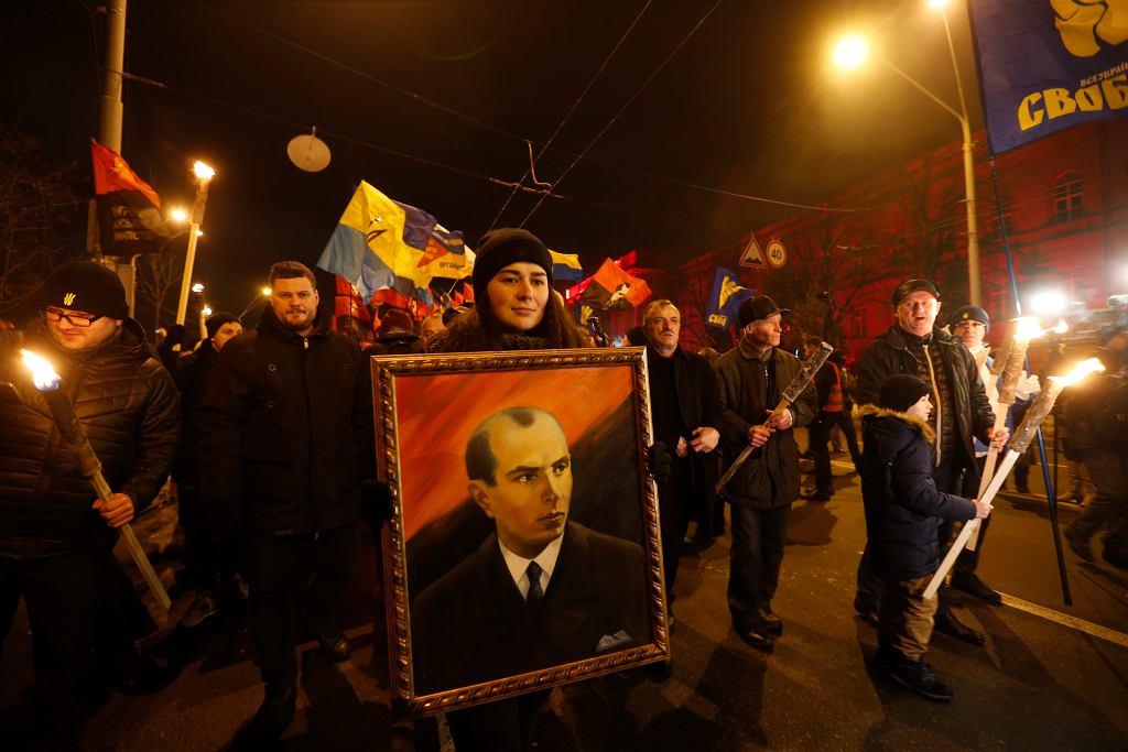 Ulicami Kijowa przeszedł marsz z okazji 110. rocznicy Stepana Bandery